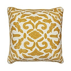 Home Collection - Mustard embroidered geo cushion