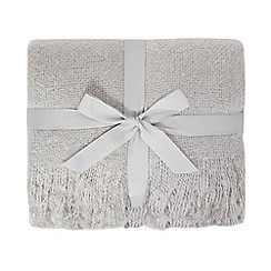 Home Collection - Silver faux mohair tassel throw