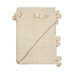 Home Collection - Natural knitted pom pom throw