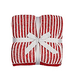 Home Collection - Red and white striped knitted throw