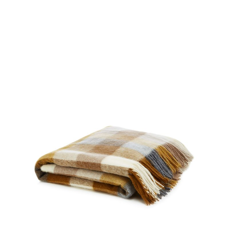 Bronte by Moon - Gold Checked Wool 'Harlequin' Throw