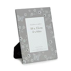 Debenhams - Silver glitter floral frame