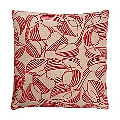 Debenhams - Red leaf print cushion