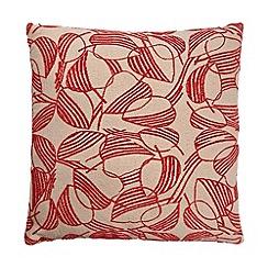 Debenhams - Red leaf print cushion