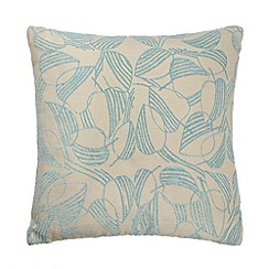 Debenhams - Turquoise leaf print cushion