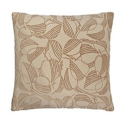 Debenhams - Natural leaf print cushion