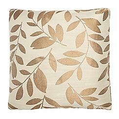Debenhams - Natural leaf embroidered cushion