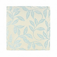 Debenhams - Blue chenille leaves cushion
