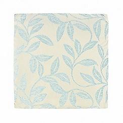 Debenhams - Blue chenille leaves cushion