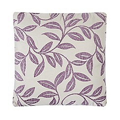 Debenhams - Purple chenille leaves cushion
