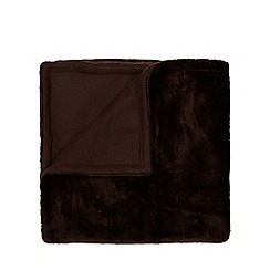 Debenhams - Dark brown faux fur throw