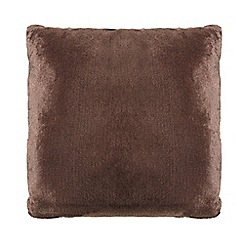 Debenhams - Dark brown faux fur cushion