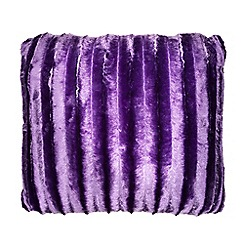 Debenhams - Purple striped faux fur cushion