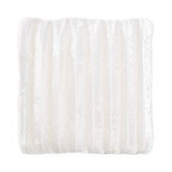 Debenhams - Cream striped faux fur cushion