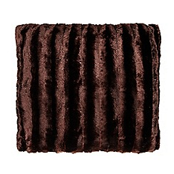 Debenhams - Brown striped faux fur cushion