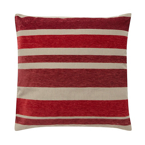 Debenhams - Red multi tonal striped cushion