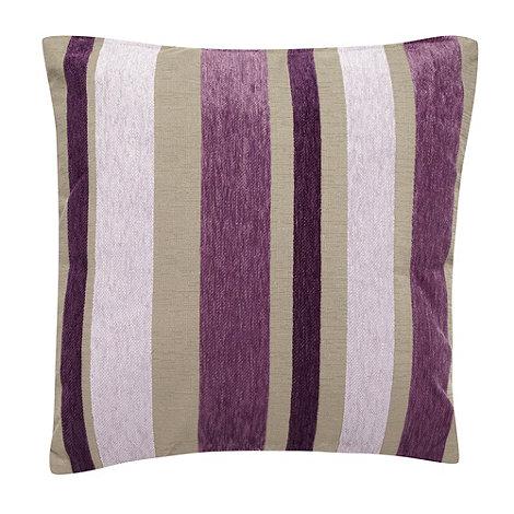 Debenhams - Purple multi tonal striped cushion