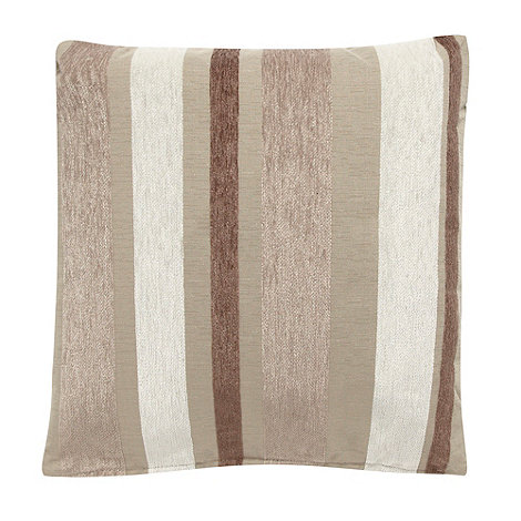 Debenhams - Natural multi tonal striped cushion
