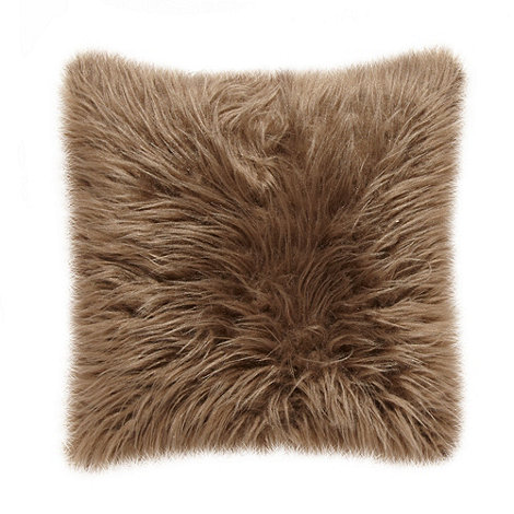 Debenhams - Brown long faux fur cushion