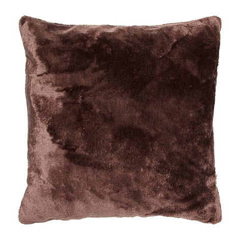 Debenhams - Chocolate faux fur cushion