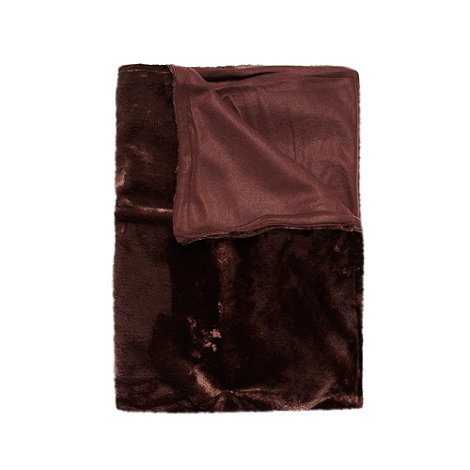 Debenhams - Chocolate faux fur throw
