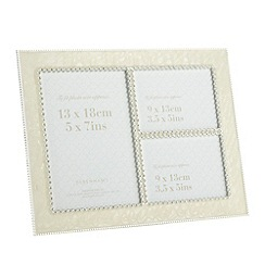 Debenhams - Cream enamel and diamante three photo frame