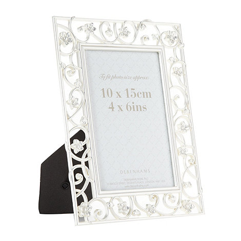 Debenhams - Silver cut out flower frame