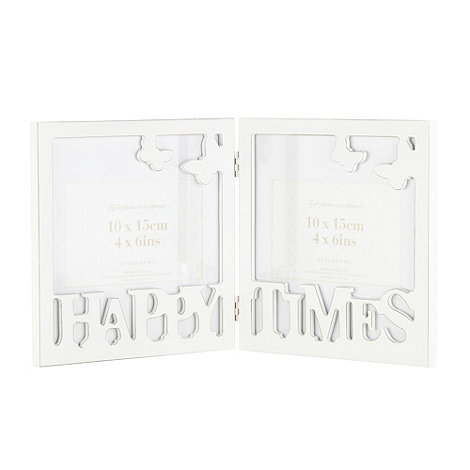Debenhams - White +Happy Times+ hinge frame