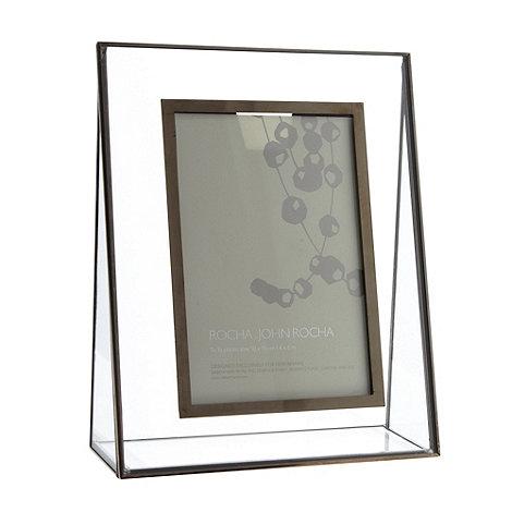 RJR.John Rocha - Designer dark grey glass pyramid photo frame
