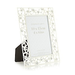Debenhams - Silver brushed diamante heart photo frame