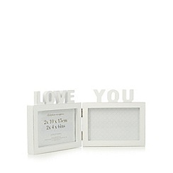 Debenhams - White wood 'Love You' 4 x 6 inch double photo frame
