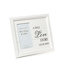 Debenhams - White wood 'True Love Story' 4 x 6 inch photo frame