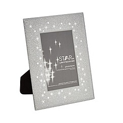 Star by Julien Macdonald - Silver star print glitter photo frame