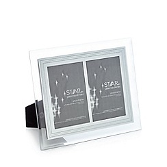 Star by Julien Macdonald - Silver glitter border double aperture photo frame