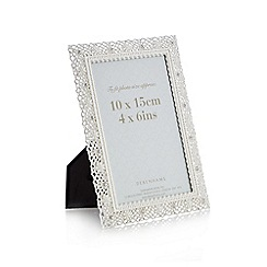 Debenhams - White metal diamante lace photo frame
