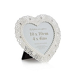 Debenhams - White metal diamante heart photo frame