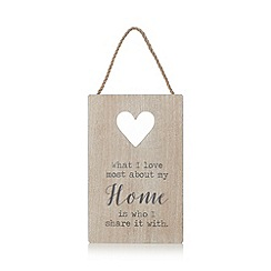Debenhams - Beige washed wood heart sign