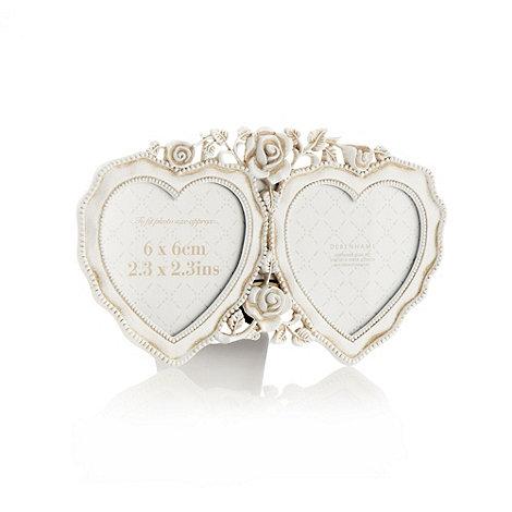 Debenhams - Small white double heart photo frame