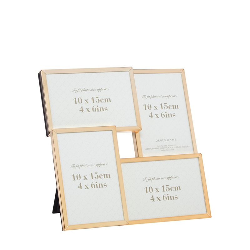 Home Collection Gold trim four aperture photo frame