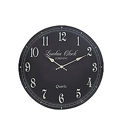 London Clock - Dark grey wood round wall clock