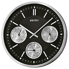 Seiko - Multi function black wall clock