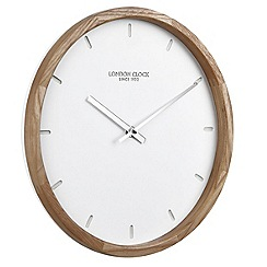 London Clock - Oslo - wood case white dial wall clock
