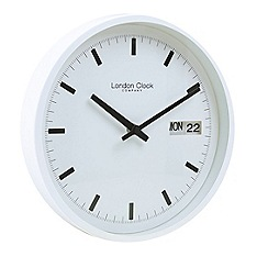 London Clock - White day and date wall clock
