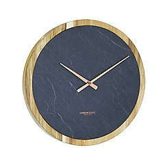 London Clock - Round slate wooden wall clock