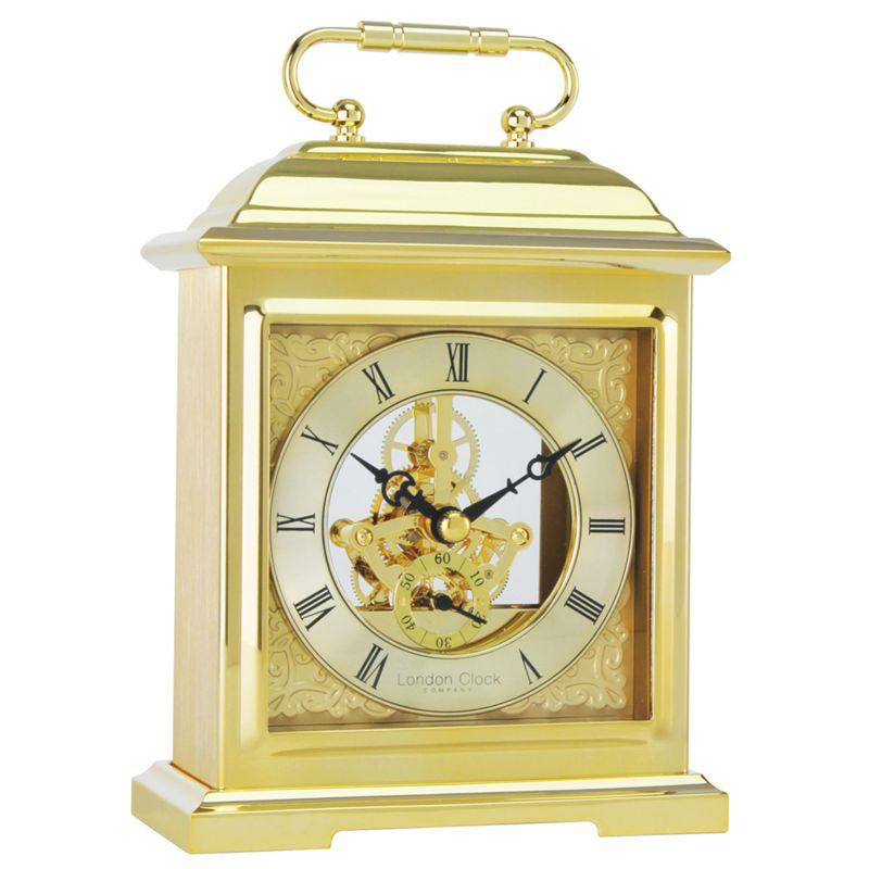 London Clock Gold Skeleton Mantel Clock
