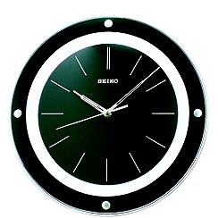 Seiko - Black glass round wall clock