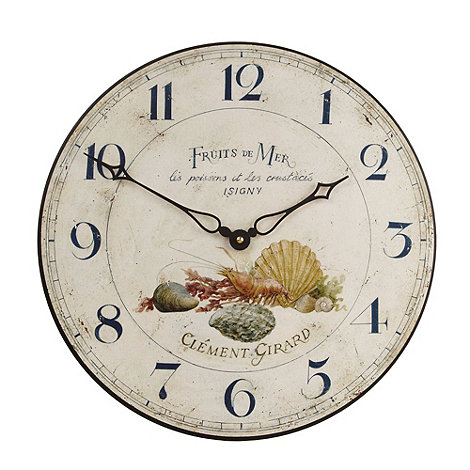 Lascelles - Cream sea shells motif wall clock