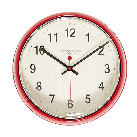 London Clock - Red retro wall clock
