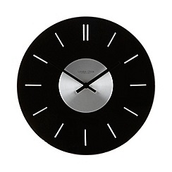 London Clock - Black glass round wall clock