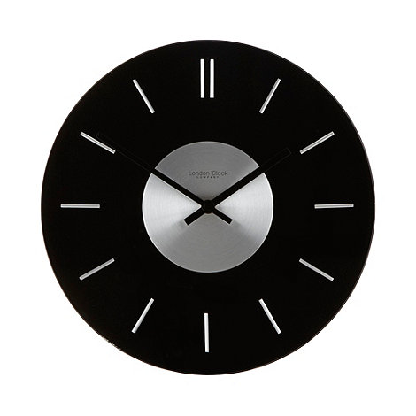 london clock black glass round wall clock debenhams